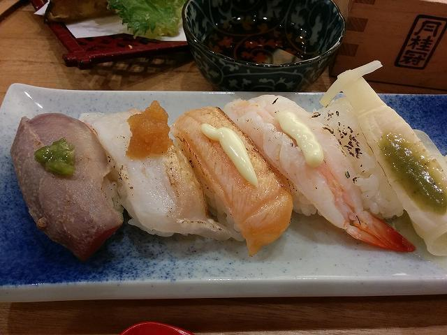 「 ふらり寿司 」 炙り寿司天ぷらランチ