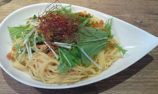 「 caffee beanDaisy」 桜えびと水菜のペペロンチーノ 美味しい珈琲