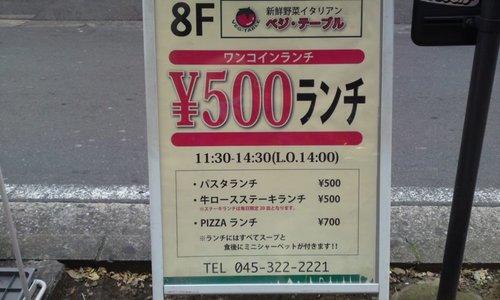 「 ベジテーブル 」横浜の美味しいワンコインランチ 朝採りの横浜野菜